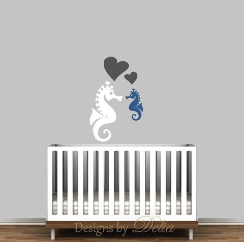 Baby Nursery Wall Decal, Sea Creatures include Seahorse and Baby Seahorse