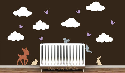 Deer, Bunnies, Squirrels, and Butterflies Wall Decal Set