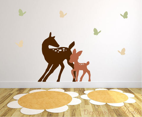 Nursery Wall Decal, Colorful Forest Animals, Deer and Butterflies