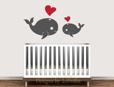 Baby Room Decals with Whales and Hearts