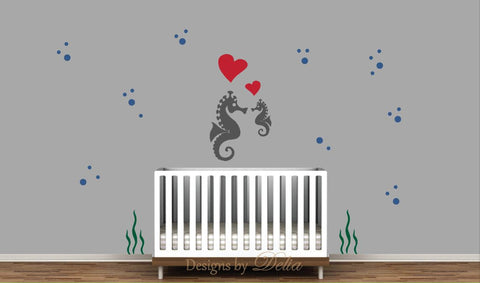 Seahorses and Hearts Wall Decal for Nursery