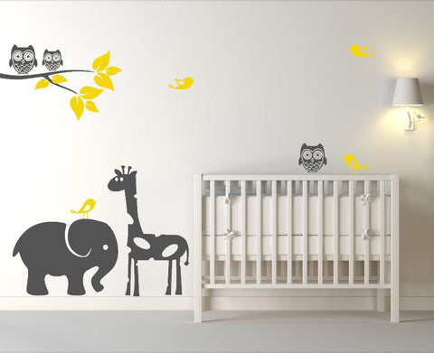 Baby Room Animal Decals with Tree Branch, Animals, Birds, and Owls