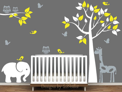Wall Decal for Nursery with Tree, Branch, and Jungle Animals