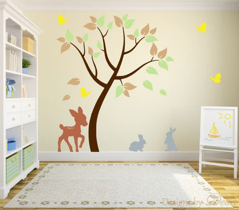 Children's Room Wall Decal with Tree and Forest Animals
