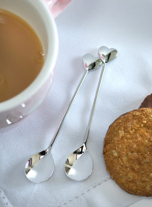 Set of 2 Heart Tea Spoons