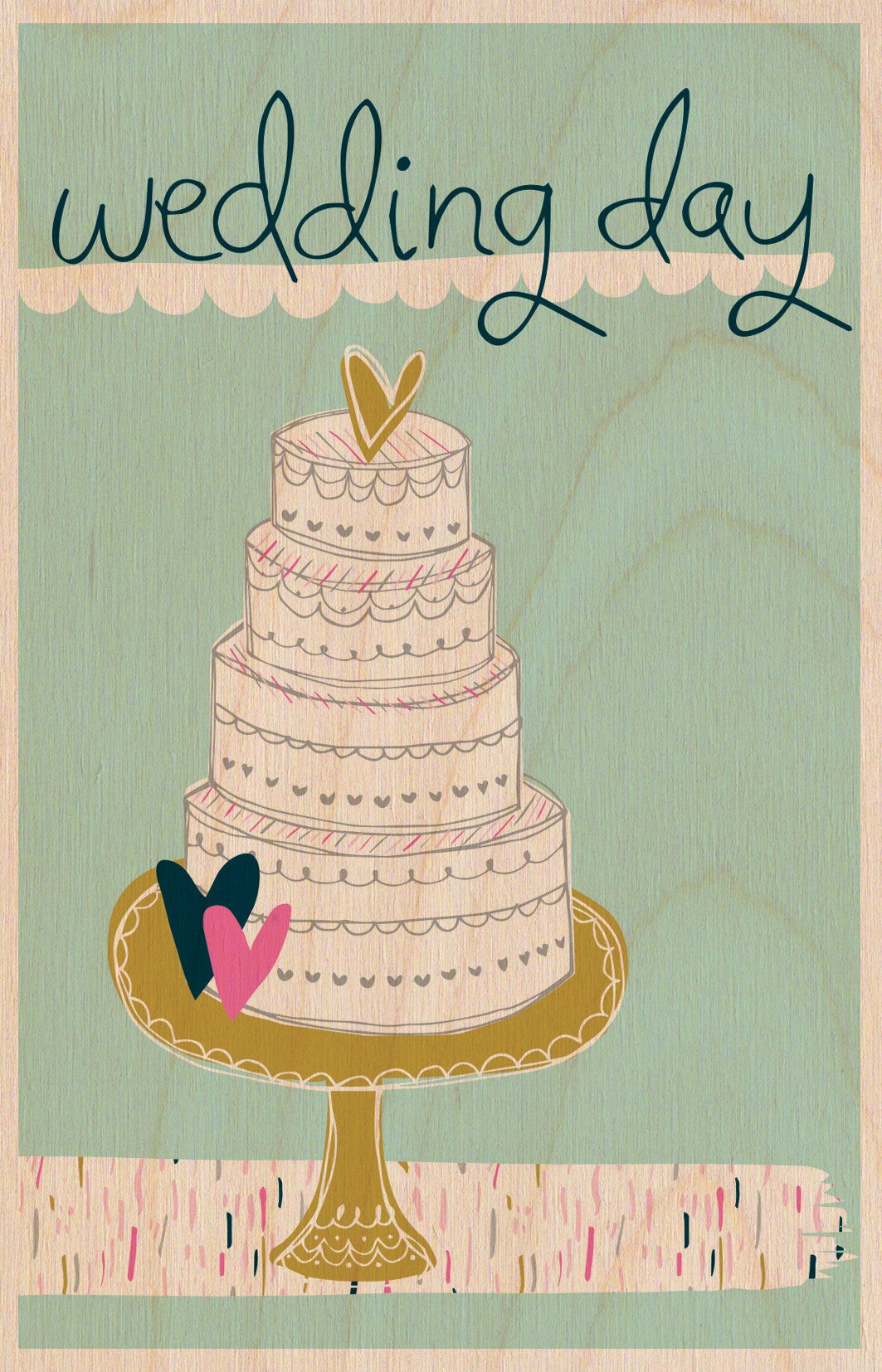 Wedding Day Wooden Postcard Greeting Card