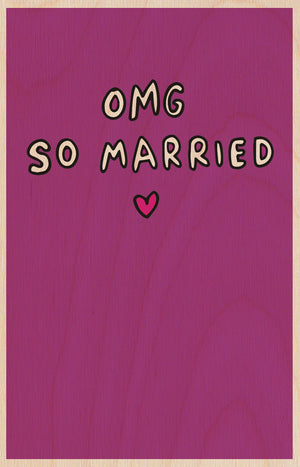 OMG So Married Wooden Postcard Greeting Card