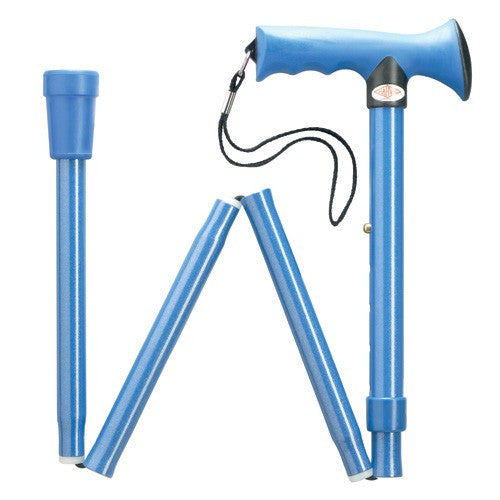Overmold Ergonomic Adjustable Folding Cane Blue