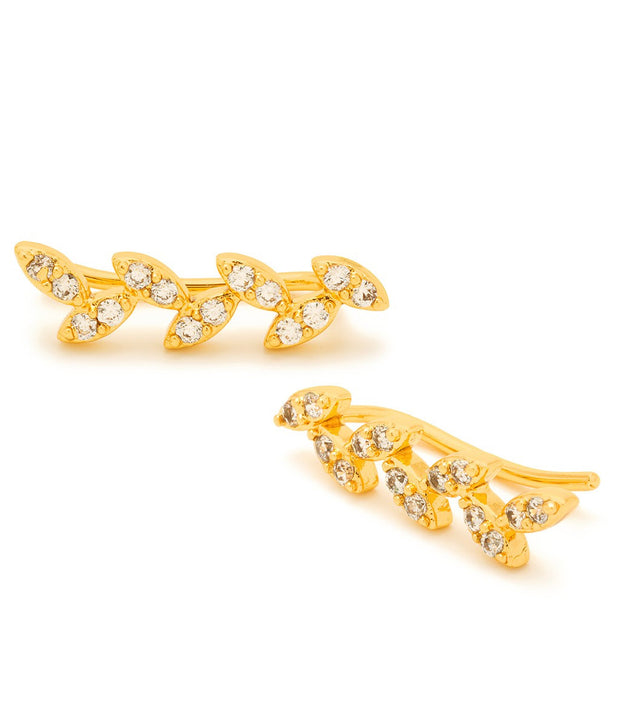 Gorjana Olympia Shimmer Ear Climbers - Gold Wht CZ - at Blond Genius - 1
