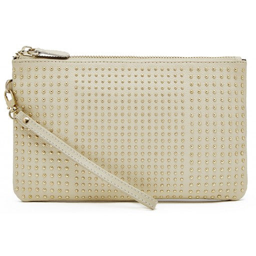 Mighty Purse Mighty Purse Stud Wristlet Cream W/ at Blond Genius - 1