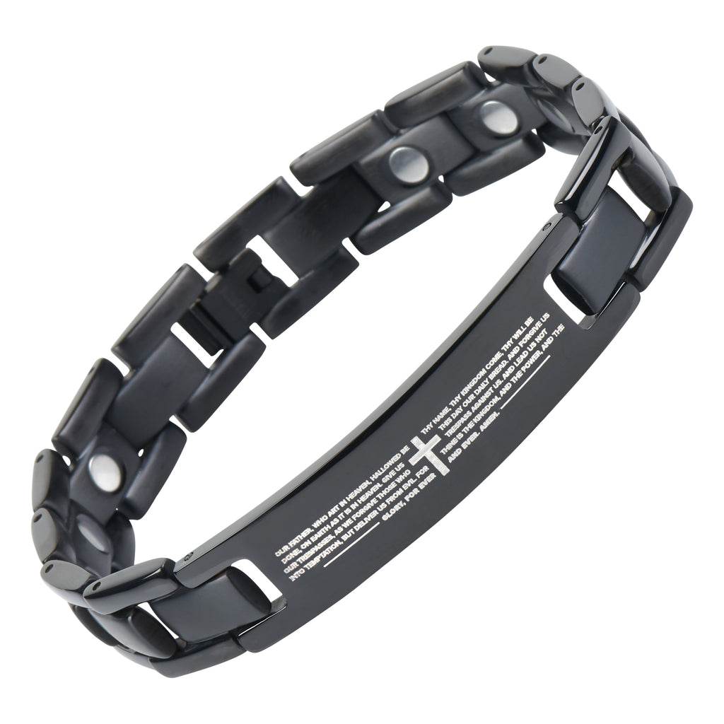 English Bible Lords Prayer Titanium Magnetic Bracelet Adjustable