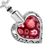 Flower Heart Urn Necklace for Ashes - Memorial Jewelry, Cremation Pendant - Johnston's Cremation Jewelry - 2