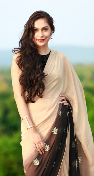 Gold Lotuses on Apricot Pure Silk Georgette Saree