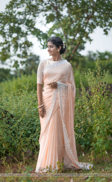 Gentle Deer Pure Satin-Georgette Ribbon Embroidered Saree