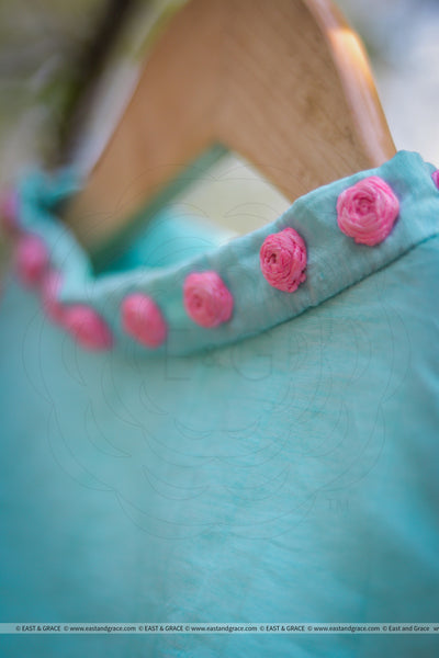 Cyan Blue Raw Silk Blouse With Hand Embroidered Baby Pink Roses
