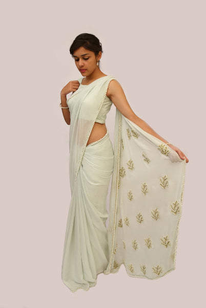 Pearl Embellished Icy Mint Pure Chiffon Saree