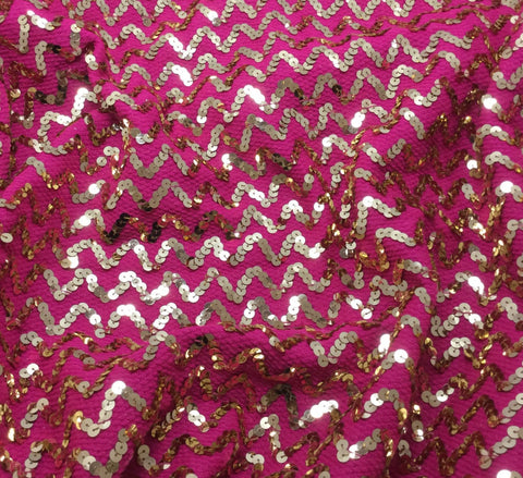 Hot Pink & Gold Metallic Zig Zag Sequin Poly Knit Fabric