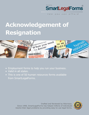 Acknowledgement of Resignation - SmartLegalForms