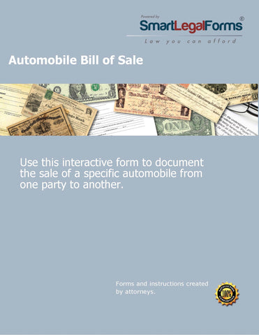 Auto Bill of Sale - SmartLegalForms