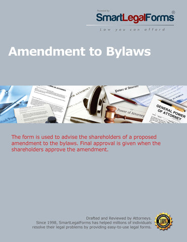 Amendment to the Bylaws - SmartLegalForms