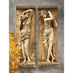 "22"" French Paris Maidens Wall Sculpture Decor Frieze- Set of 2"
