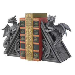 Decorative Gothic Winged Dragons Sculpture Statue Bookends - Gift Item