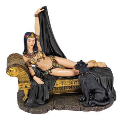 "11""h Classic Egyptian Collectible Queen Beauty with Panther Statue Sculpture ..."
