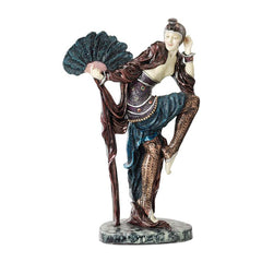 "16"" Collectible Fan Dancer Art Deco Dancer Sculpture Statue Figurine Inspired..."