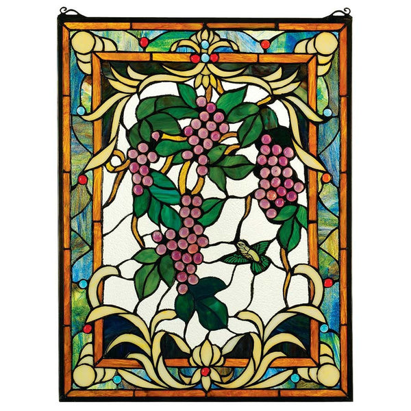 GRAPE VINEYARD STAINED GLASS WINDOW