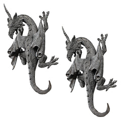 "13.5"" Winged Wall Dragon Sculpture Statue Figurine - Set of 2"