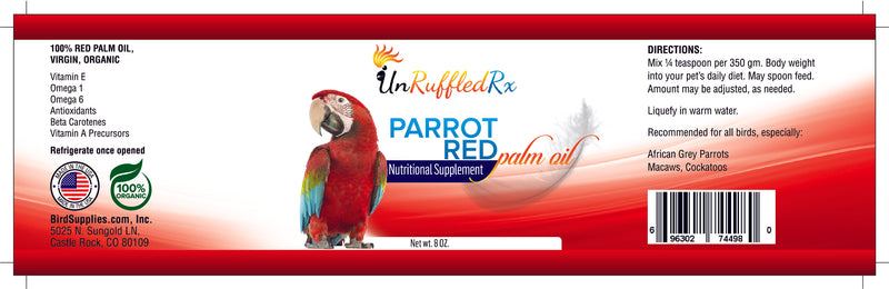UnRuffledRx Red Palm Oil for Parrots, 8 oz.