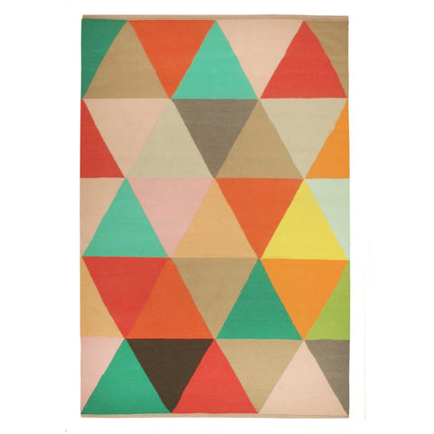 Abilene Geometric Multi Coloured Triangle Patterned Flatweave Wool Rug - Rugs Of Beauty