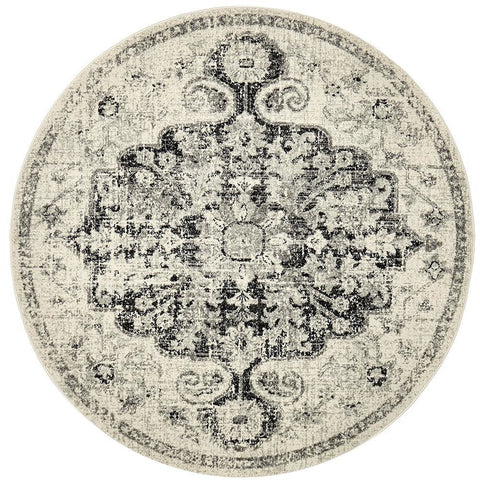 Adoni 150 Bohemian Charcoal Grey Round Rug - Rugs Of Beauty - 1