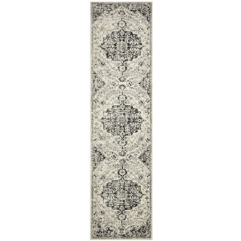 Adoni 150 Transitional Bohemian Charcoal Grey Runner Rug - Rugs Of Beauty - 1