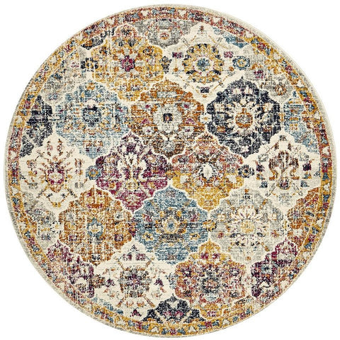 Adoni 151 Transitional Bohemian Multi Coloured Round Rug - Rugs Of Beauty - 1