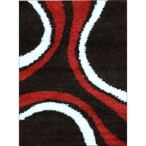 Stylish Curves Rug Black Red - Rugs Of Beauty
