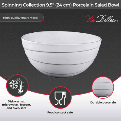 "Vie Belles Bowl Spinning Collection 9.5"" (24 cm) Porcelain Salad Bowl"