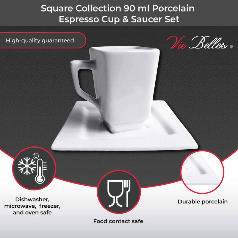 Square Collection 90 ml Porcelain Espresso Cup & Saucer Set