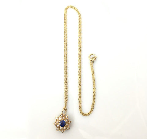 Beautfiul Edwardian Pearl and Sapphire Pendant on a Gold Chain