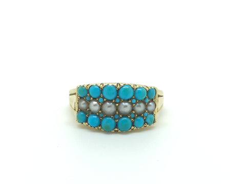 18ct Gold Turquoise & Pearl Dress Ring