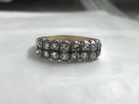 Late Georgian / Early Victorian Old cut diamond two row ring