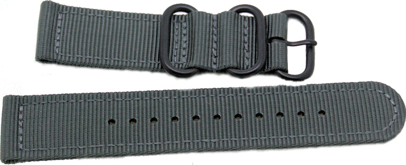 22mm 2 pc grey military style nylon watch strap with black pvd heavy duty fittings - The CGA Company