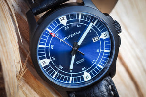 Minuteman RWB DLC finish leather strap wristwatch - The CGA Company