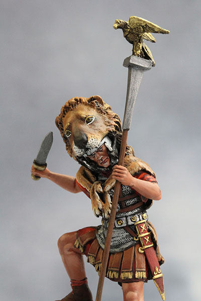 YZ54003 - Roman Aquilifer with Lion Felt (The 1st Century A.D.) from YZCaesar - Piers Christian Toy Soldiers - 1