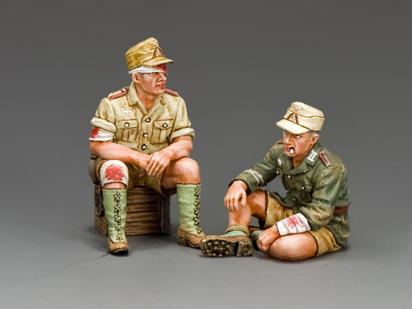 AK112 - Two Wounded soldiers resting, Africa Korps from King & Country - Piers Christian Toy Soldiers