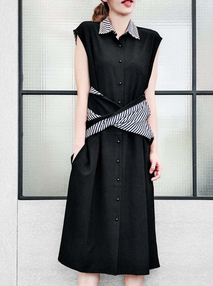 Further Sale! Black Contrast Stripe Collar Crossing Front Shirtdress