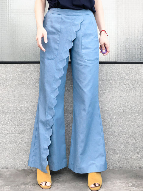 Light Denim Scallop Detail Faux Wrap Wide-leg Pants
