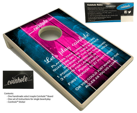 blue and pink official coinhole board