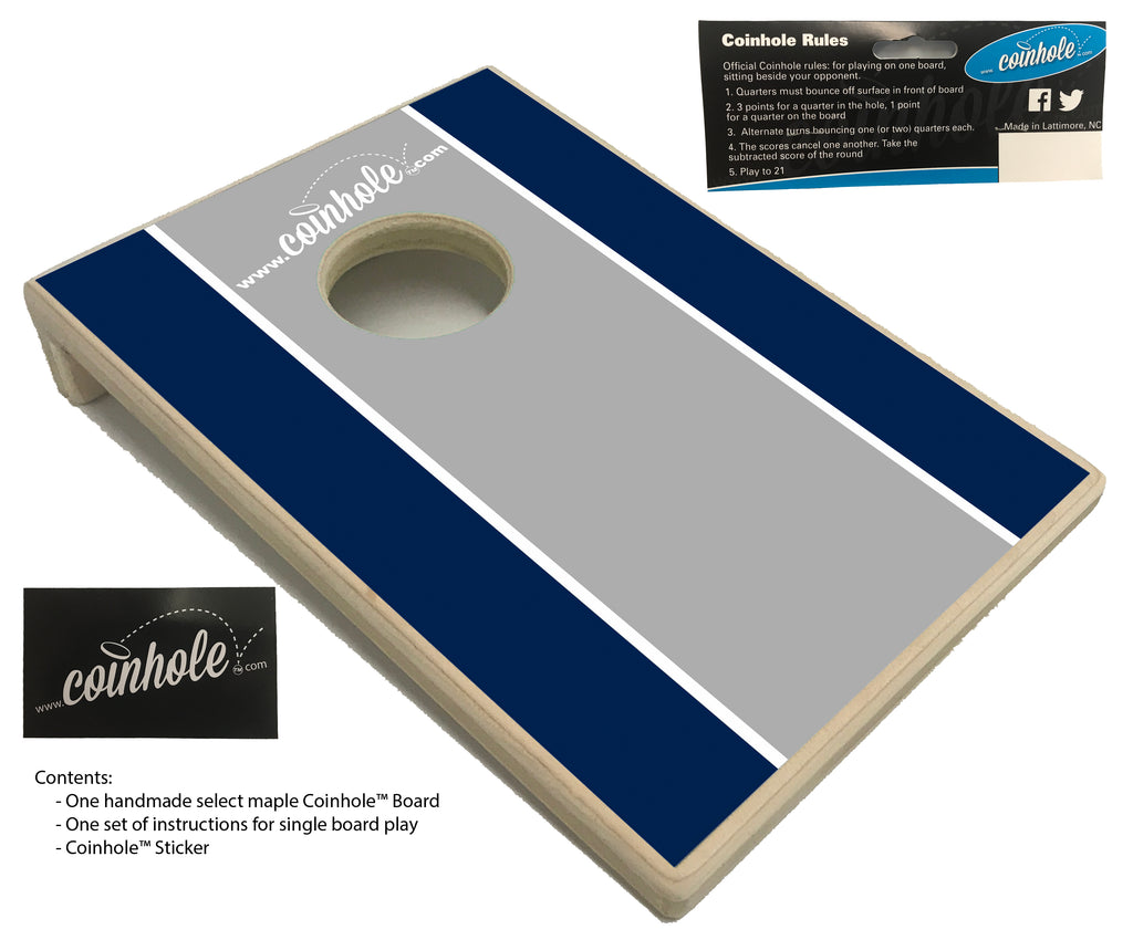 Navy blue, grey, and white racing strip Coinhole™ Board