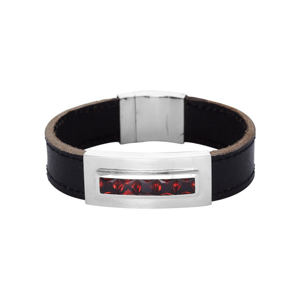 Leather and Garnet Bracelet